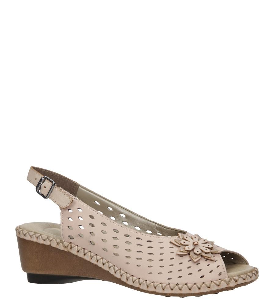 Różowe sandały skórzane ażurowe na koturnie Rieker 66177-31