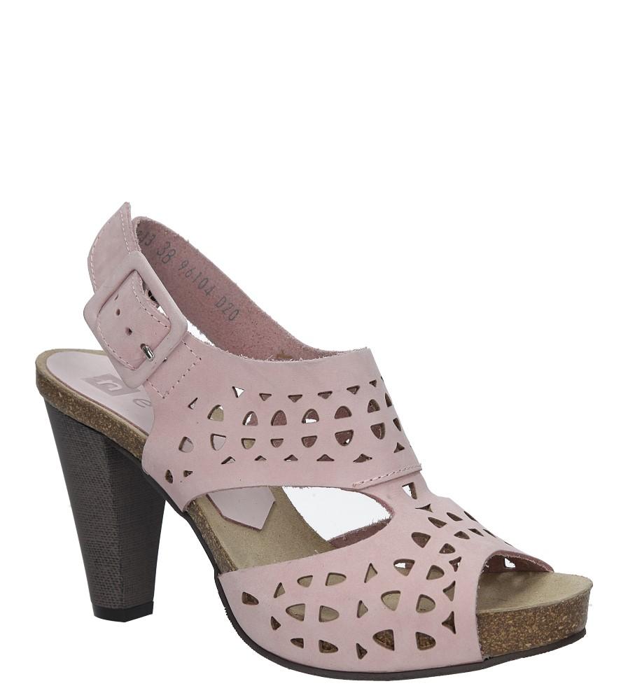 Różowe sandały skórzane ażurowe na słupku Nessi 18343
