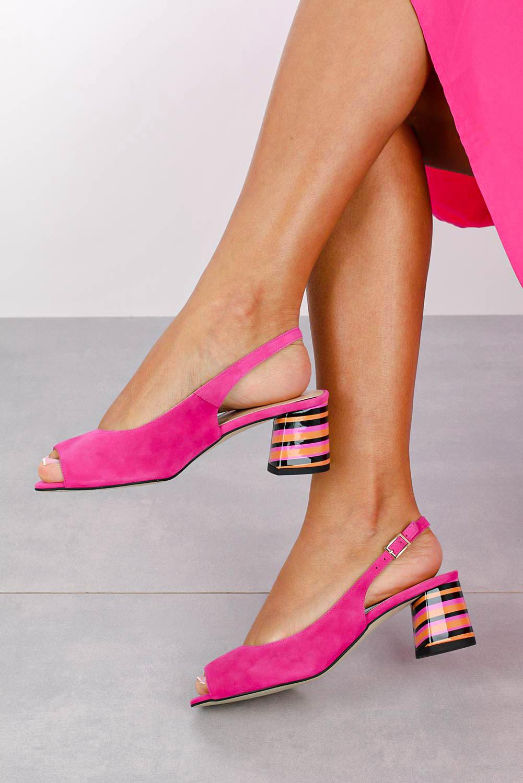 Różowe sandały skórzane na ozdobnym szerokim obcasie Casu DS-346/A kolor różowy