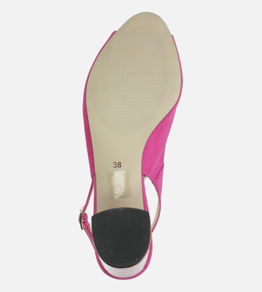 Różowe sandały skórzane na ozdobnym szerokim obcasie Casu DS-346/A wysokosc_platformy 0.5 cm