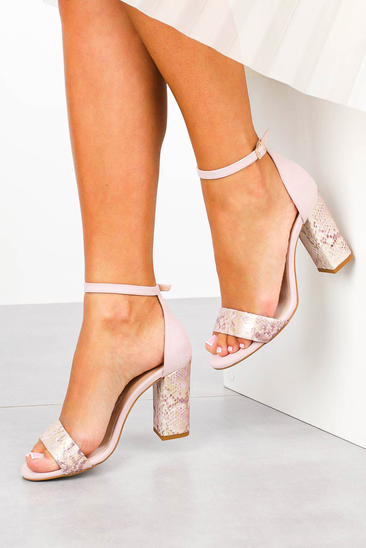 Różowe sandały skórzane z paskiem wokół kostki na szerokim ozdobnym słupku Casu DS-254/A