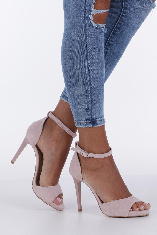 Różowe sandały szpilki z zakrytą piętą i paskiem wokół kostki Casu 1590/1 producent Casu