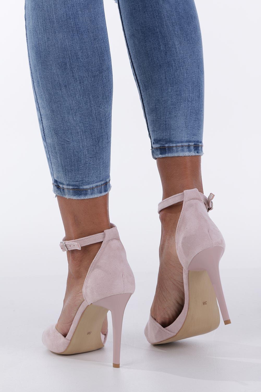 Różowe sandały szpilki z zakrytą piętą i paskiem wokół kostki Casu 1590/1 wysokosc_obcasa 10.5 cm