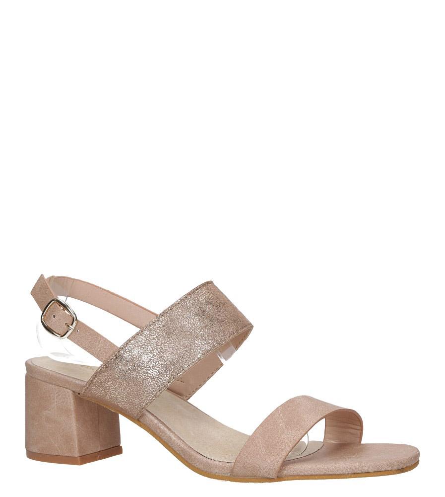 Różowe sandały z błyszczącym paskiem na niskim obcasie skórzana wkładka Casu E19X2/P model E19X2/P