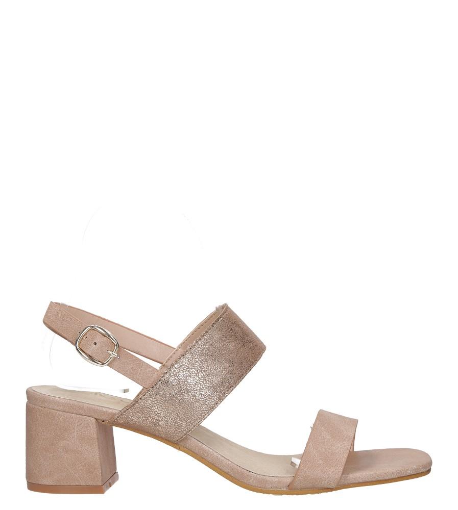 Różowe sandały z błyszczącym paskiem na niskim obcasie skórzana wkładka Casu E19X2/P wysokosc_platformy 1 cm