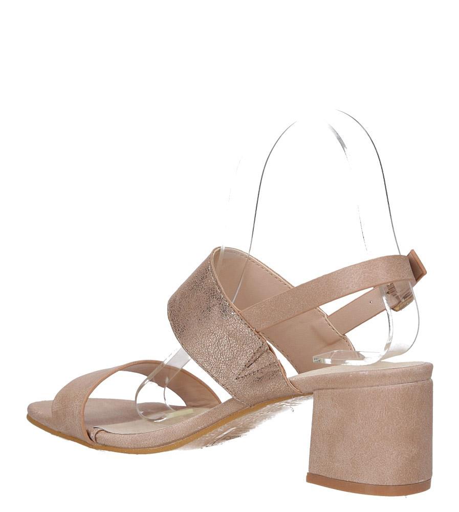 Różowe sandały z błyszczącym paskiem na niskim obcasie skórzana wkładka Casu E19X2/P wys_calkowita_buta 13.5 cm