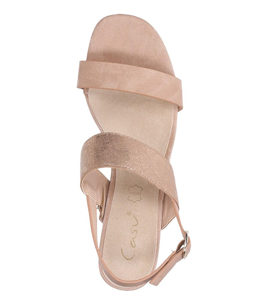 Różowe sandały z błyszczącym paskiem na niskim obcasie skórzana wkładka Casu E19X2/P wierzch skóra ekologiczna