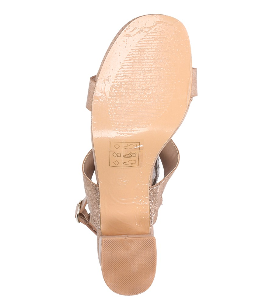 Różowe sandały z błyszczącym paskiem na niskim obcasie skórzana wkładka Casu E19X2/P wnetrze skóra ekologiczna