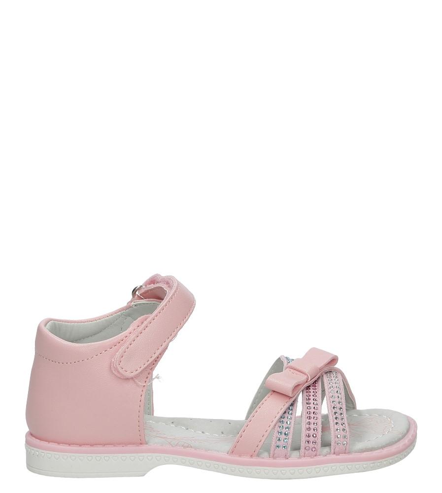 Różowe sandały z kokardą i cyrkoniami na rzep Casu Z-308