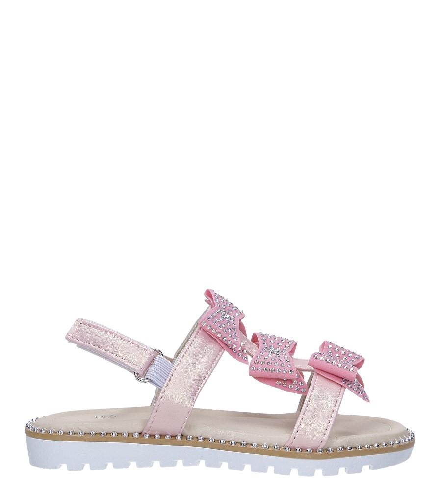 Różowe sandały z kokardką i cyrkoniami na rzep Casu 8957B