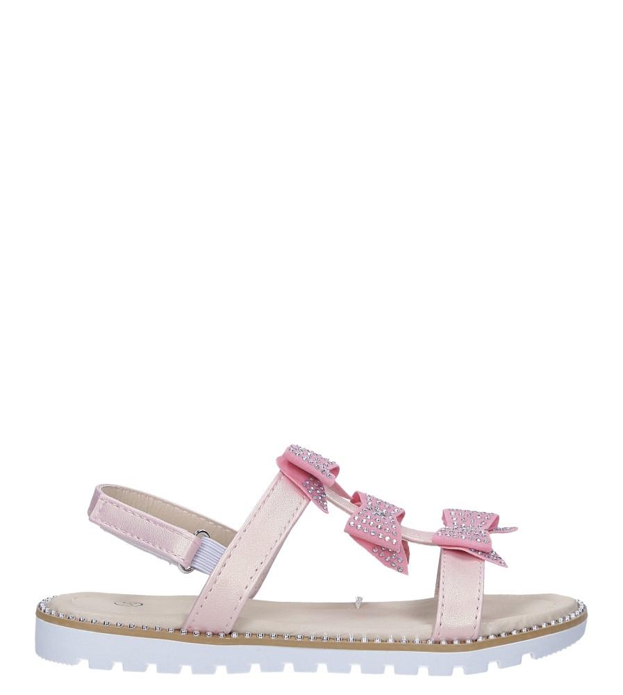 Różowe sandały z kokardką i cyrkoniami na rzep Casu 8957C