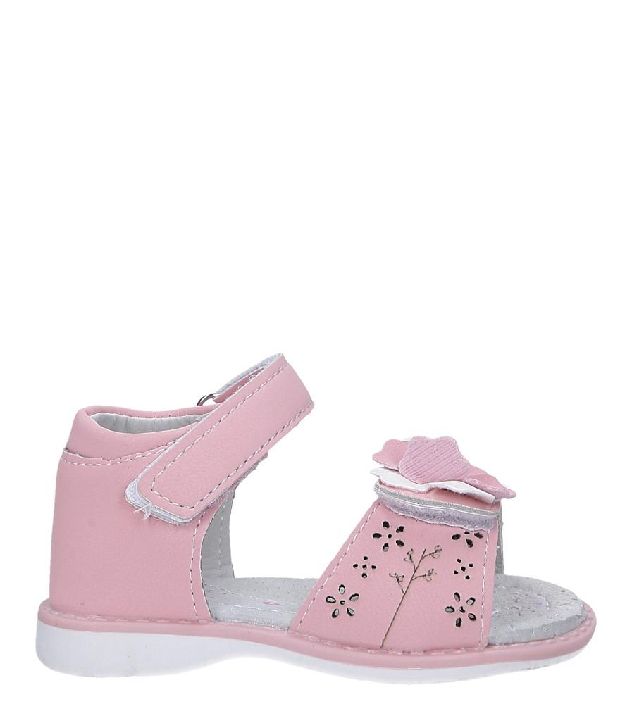 Różowe sandały z kwiatkiem na rzep Casu LA105 różowy