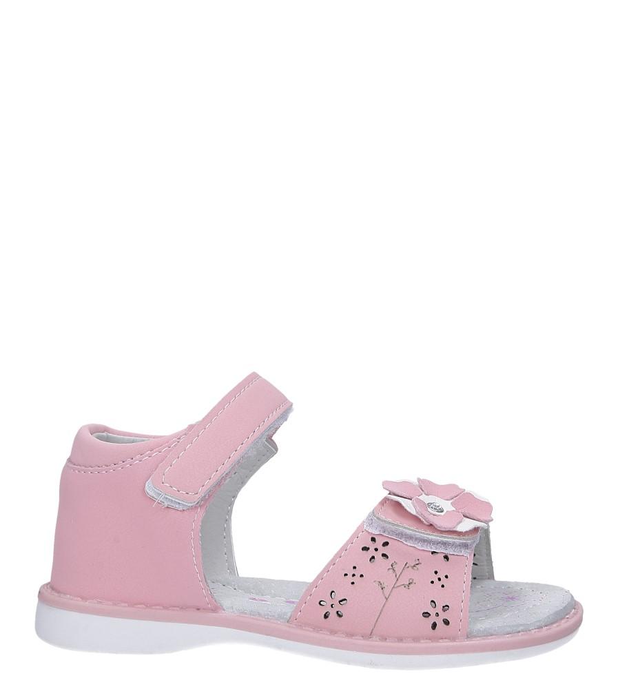 Różowe sandały z kwiatkiem na rzep Casu LA106