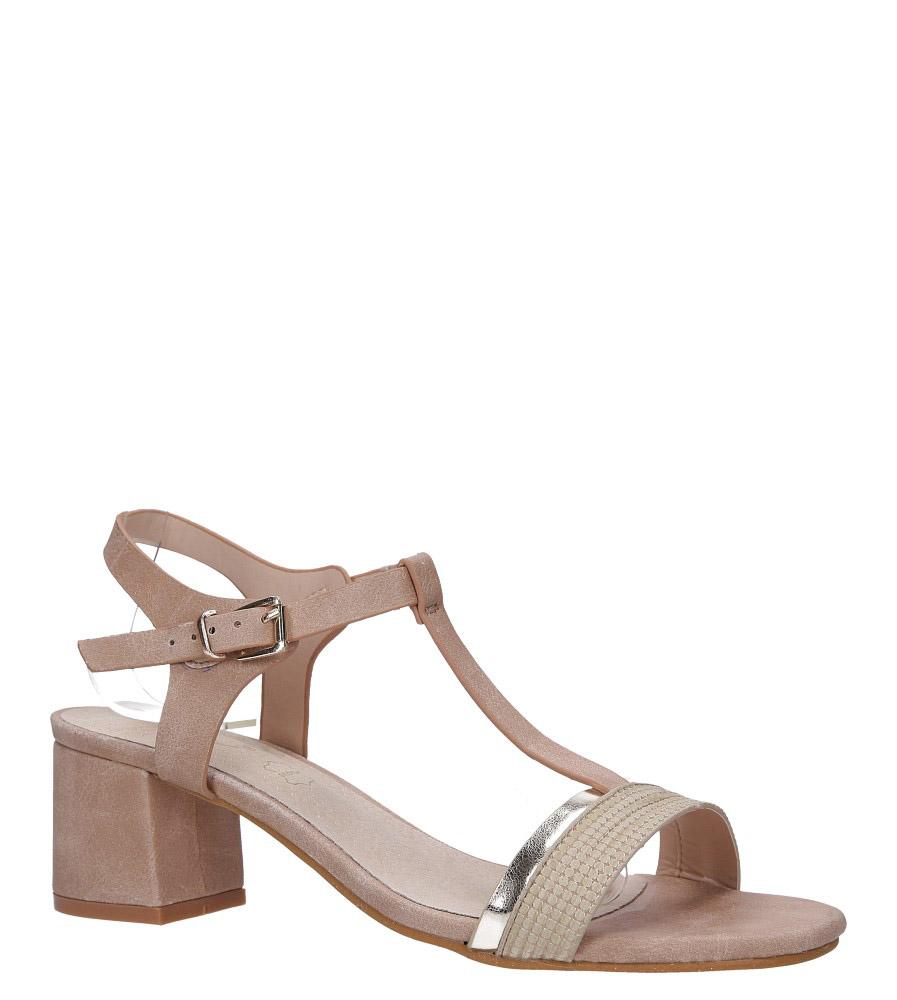 Różowe sandały z paskiem przez środek na niskim obcasie skórzana wkładka Casu E19X3/P