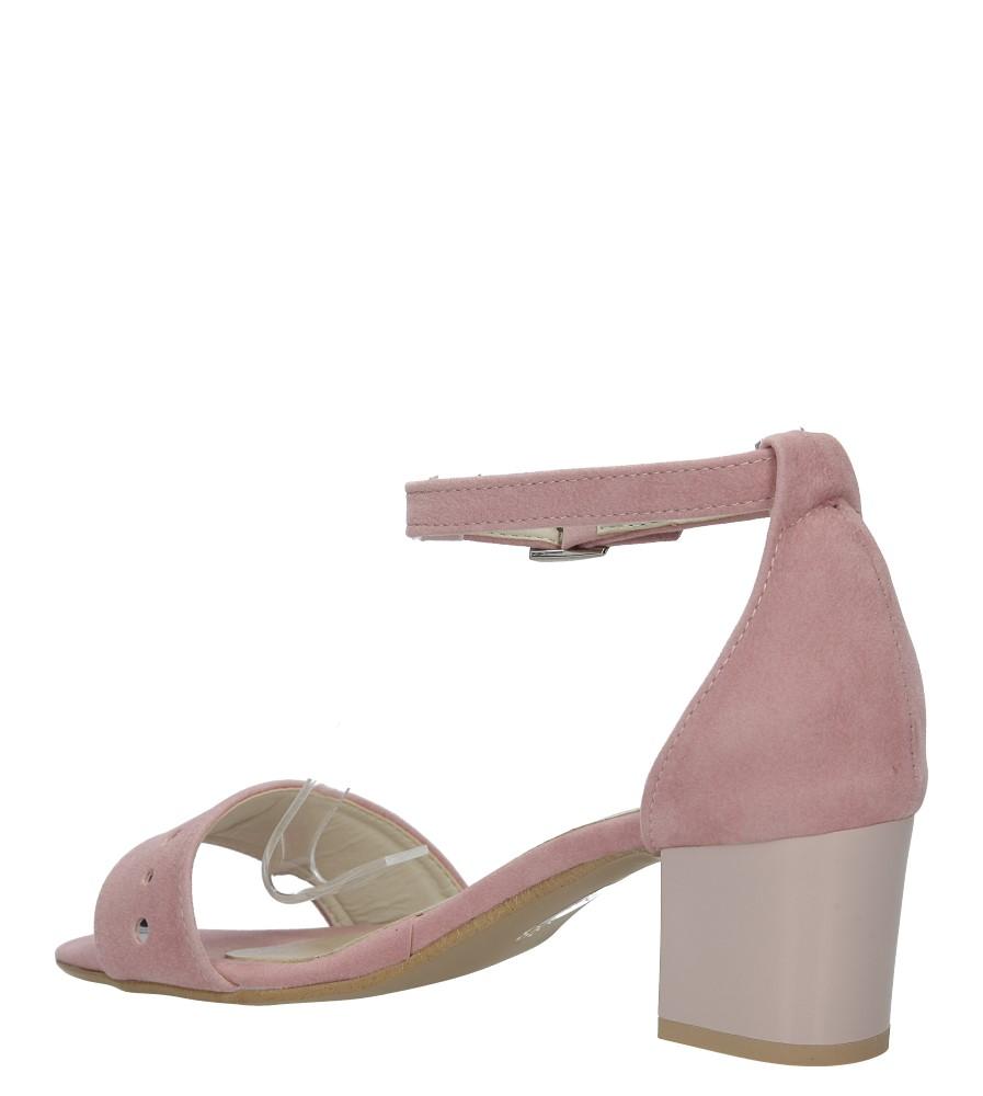 Różowe sandały z paskiem wokół kostki na niskim obcasie Casu 1973 kolor różowy