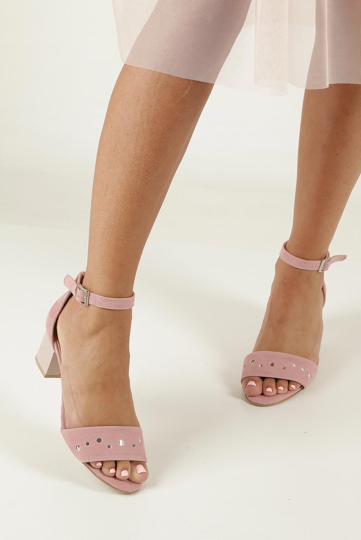 Różowe sandały z paskiem wokół kostki na niskim obcasie Casu 1973 wys_calkowita_buta 15.5 cm