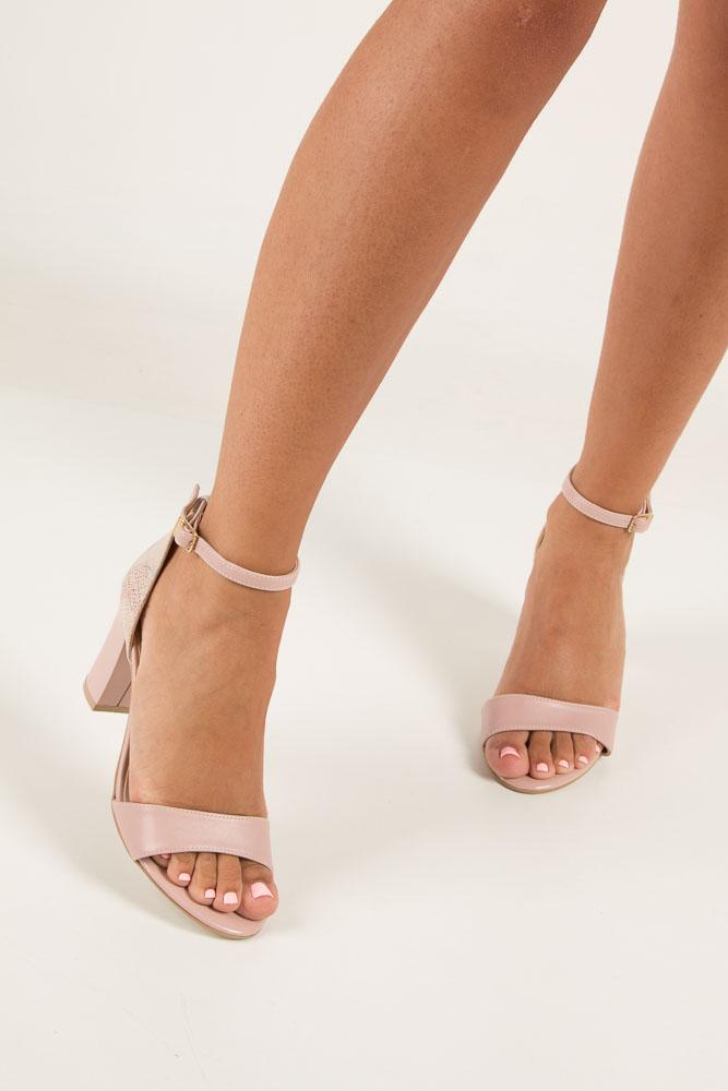 Różowe sandały z paskiem wokół kostki na słupku Casu 3093 wysokosc_obcasa 8 cm
