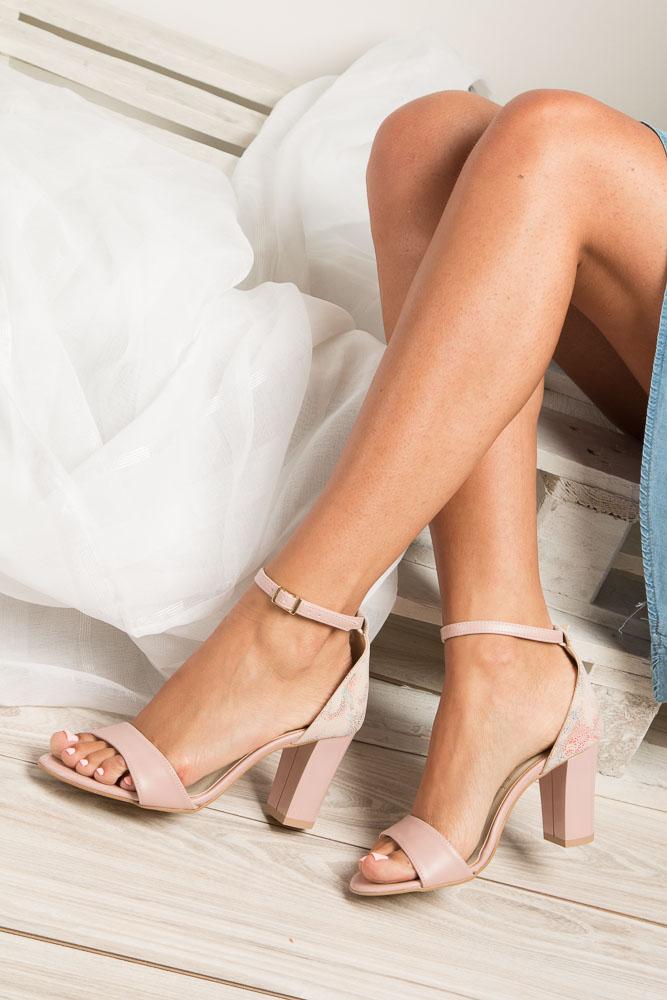 Różowe sandały z paskiem wokół kostki na słupku Casu 3093 wysokosc_platformy 0.5 cm