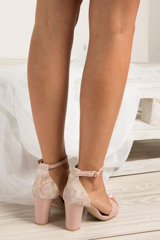 Różowe sandały z paskiem wokół kostki na słupku Casu 3093 wys_calkowita_buta 17 cm