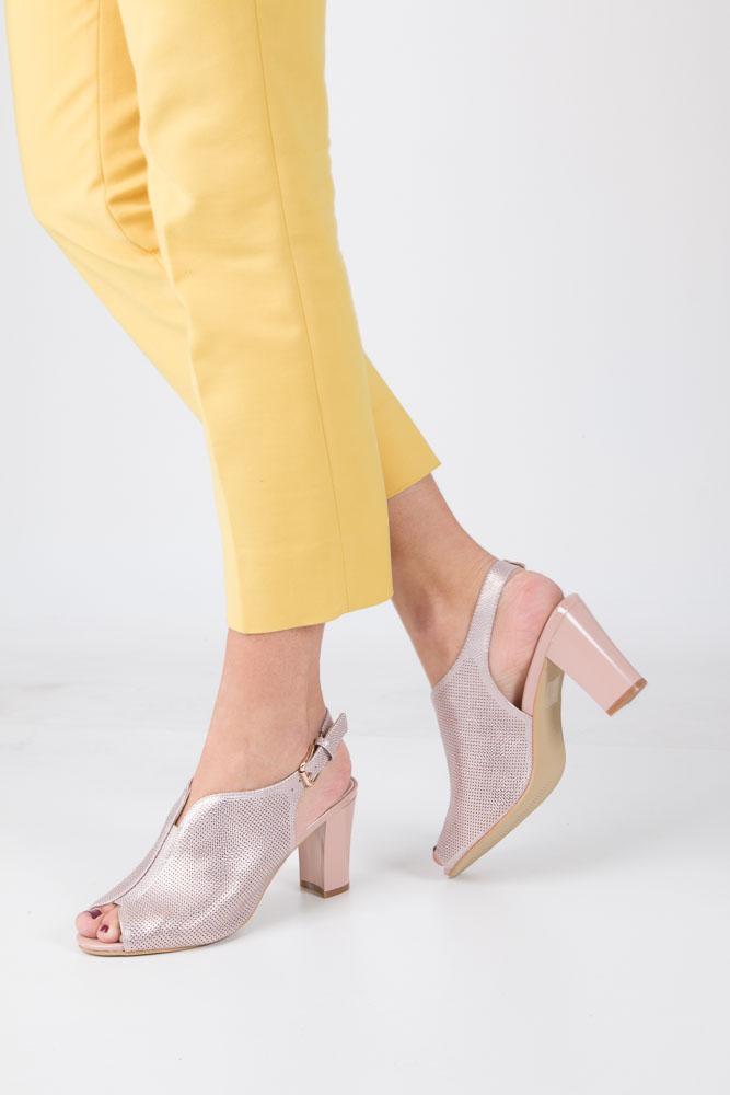 Różowe sandały zabudowane na słupku błyszczące Sergio Leone SK812-14P