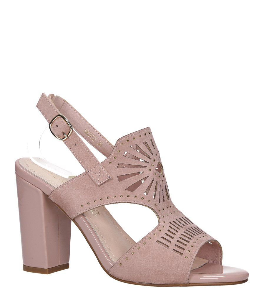 Różowe sandały zabudowane z nitami ażurowe na słupku Sergio Leone SK852 model SK852