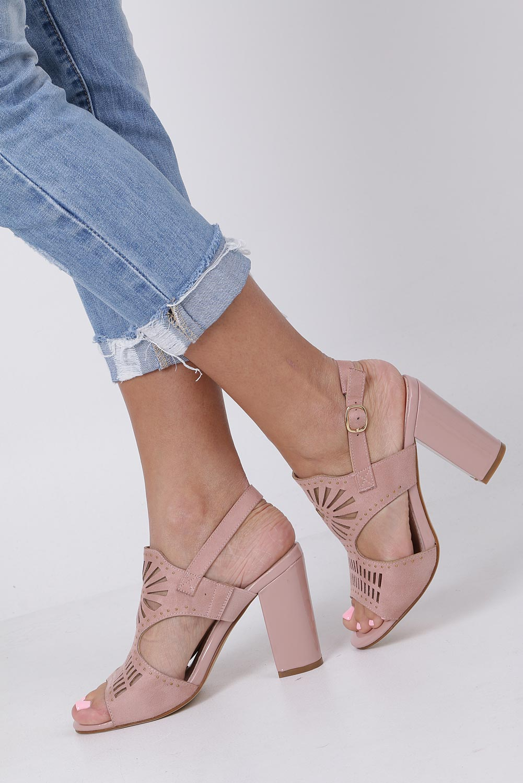 Różowe sandały zabudowane z nitami ażurowe na słupku Sergio Leone SK852 style Ażurowy