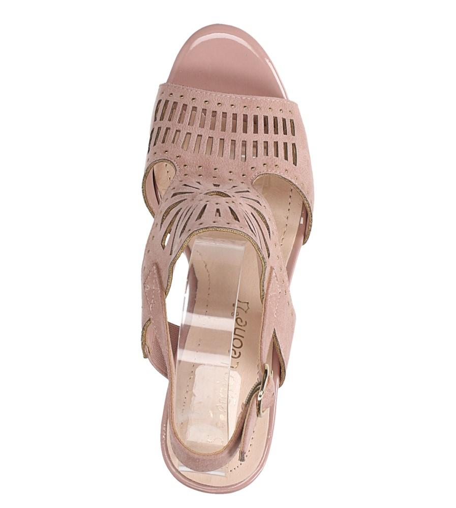 Różowe sandały zabudowane z nitami ażurowe na słupku Sergio Leone SK852 wys_calkowita_buta 16 cm