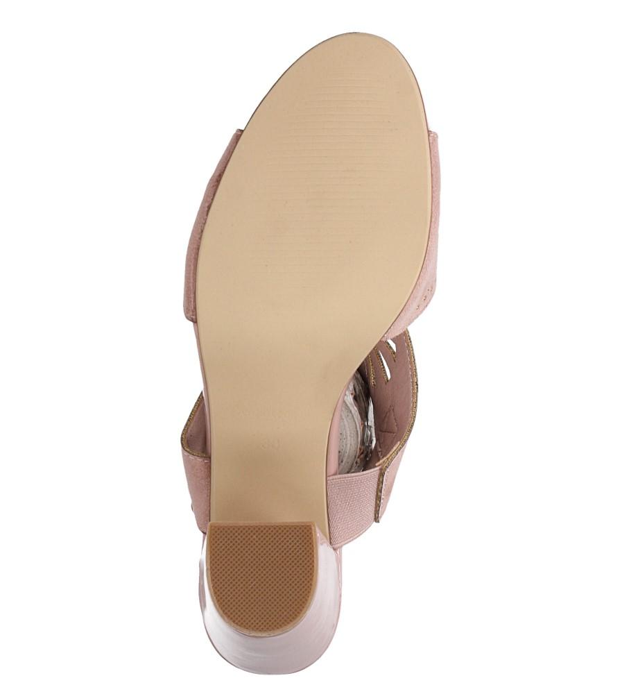 Różowe sandały zabudowane z nitami ażurowe na słupku Sergio Leone SK852 wierzch zamsz ekologiczny