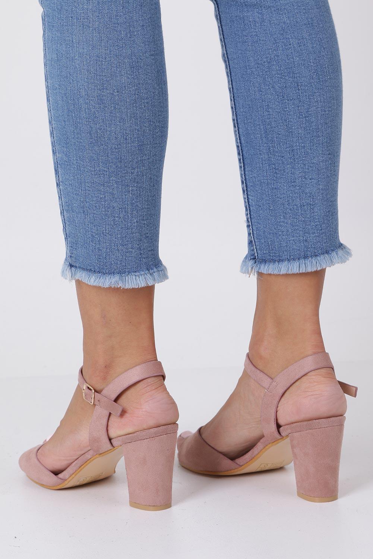 Różowe sandały ze skórzaną wkładką na słupku Casu DD19X3/P producent Casu