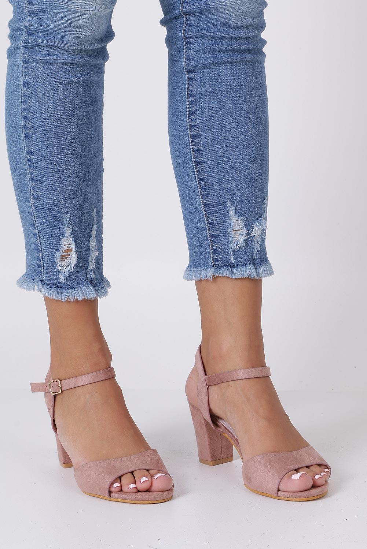 Różowe sandały ze skórzaną wkładką na słupku Casu DD19X3/P sezon Lato