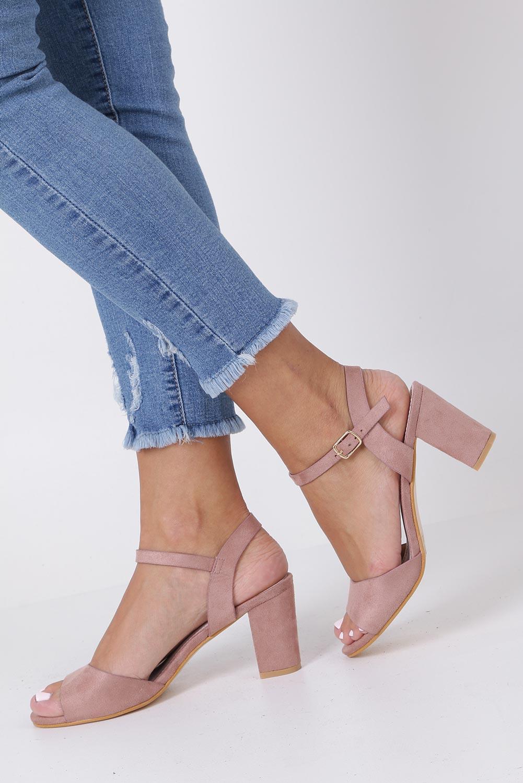 Różowe sandały ze skórzaną wkładką na słupku Casu DD19X3/P kolor różowy
