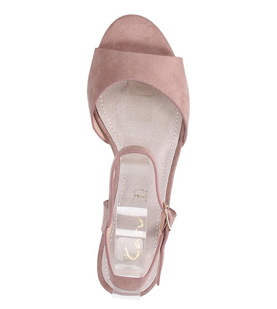 Różowe sandały ze skórzaną wkładką na słupku Casu DD19X3/P wysokosc_platformy 0.5 cm