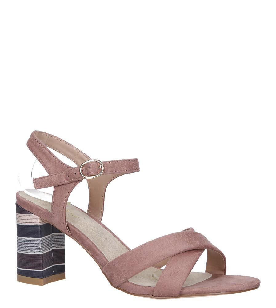 Różowe sandały ze skórzaną wkładką na szerokim ozdobnym obcasie paski na krzyż Casu N19X3/P model N19X3/P