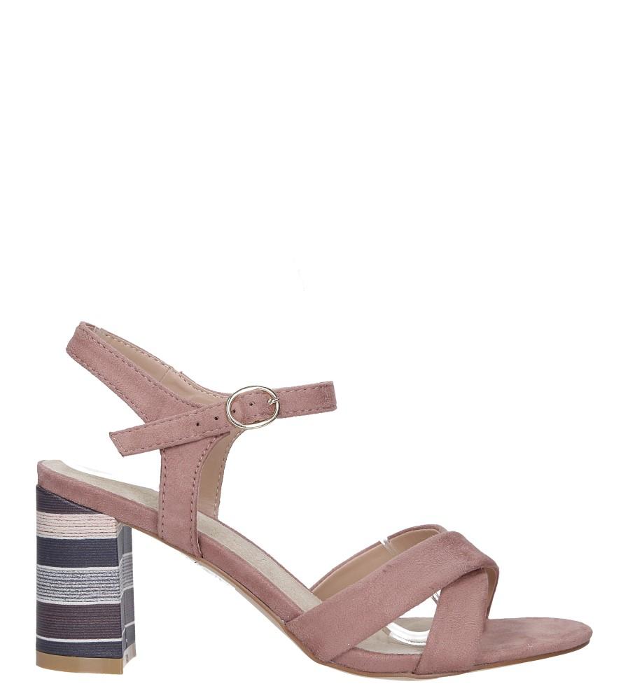 Różowe sandały ze skórzaną wkładką na szerokim ozdobnym obcasie paski na krzyż Casu N19X3/P wysokosc_platformy 0.5 cm