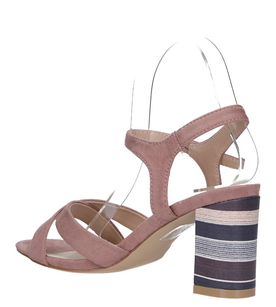 Różowe sandały ze skórzaną wkładką na szerokim ozdobnym obcasie paski na krzyż Casu N19X3/P wys_calkowita_buta 13 cm