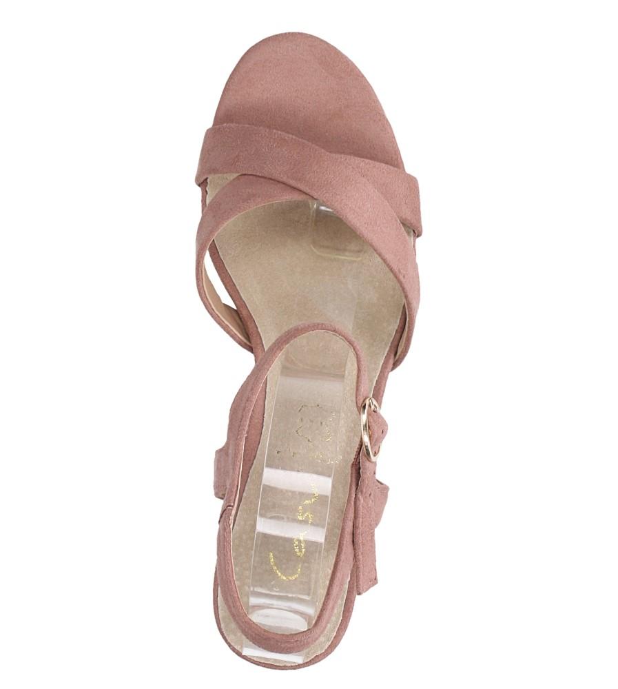 Różowe sandały ze skórzaną wkładką na szerokim ozdobnym obcasie paski na krzyż Casu N19X3/P wierzch zamsz ekologiczny