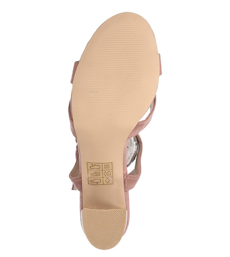 Różowe sandały ze skórzaną wkładką na szerokim ozdobnym obcasie paski na krzyż Casu N19X3/P wnetrze skóra ekologiczna