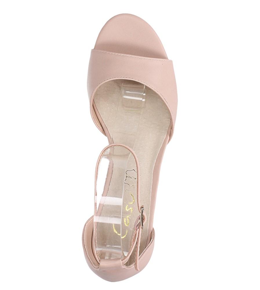Różowe sandały ze skórzaną wkładką z zakrytą piętą i paskiem wokół kostki Casu N19X4/P wierzch skóra ekologiczna