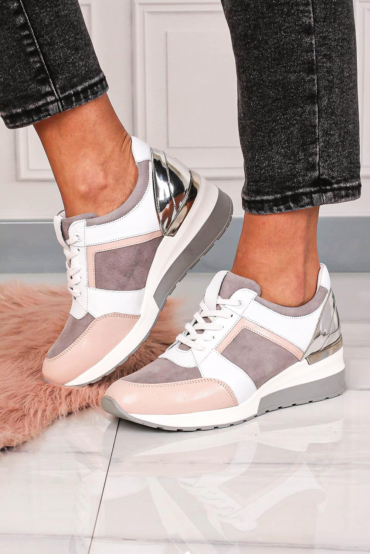 Różowe sneakersy Kati buty sportowe sznurowane 7049 różowy