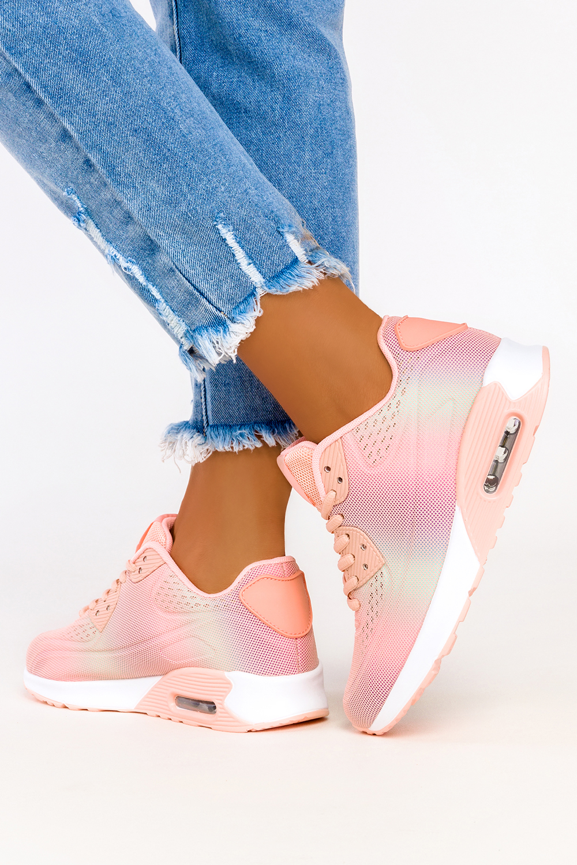 Różowe sneakersy na koturnie buty sportowe sznurowane Casu B3363-7 różowy