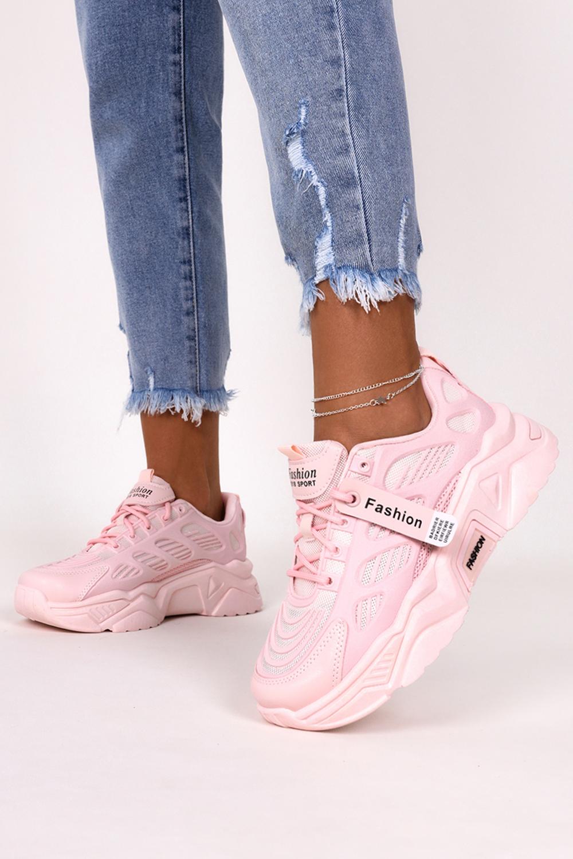 Różowe sneakersy na platformie buty sportowe sznurowane Casu 21F1/P jasny różowy