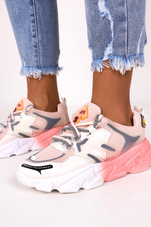 Różowe sneakersy na platformie buty sportowe sznurowane Casu 21F2/P różowy