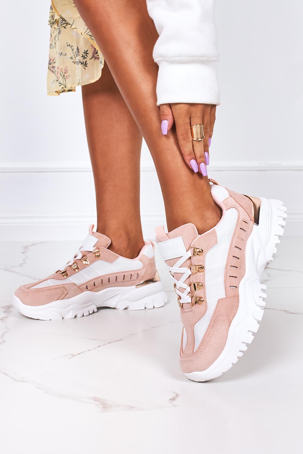 Różowe sneakersy na platformie buty sportowe sznurowane Casu 5311