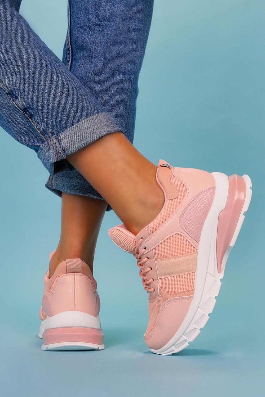 Różowe sneakersy na platformie buty sportowe sznurowane Casu BM-586