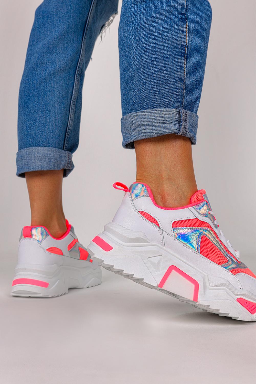 Różowe sneakersy na platformie buty sportowe sznurowane Casu LV107-18