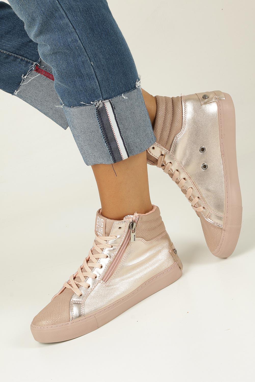 Różowe sneakersy trampki sznurowane z ozdobnym suwakiem Big Star BB274729 model BB274729