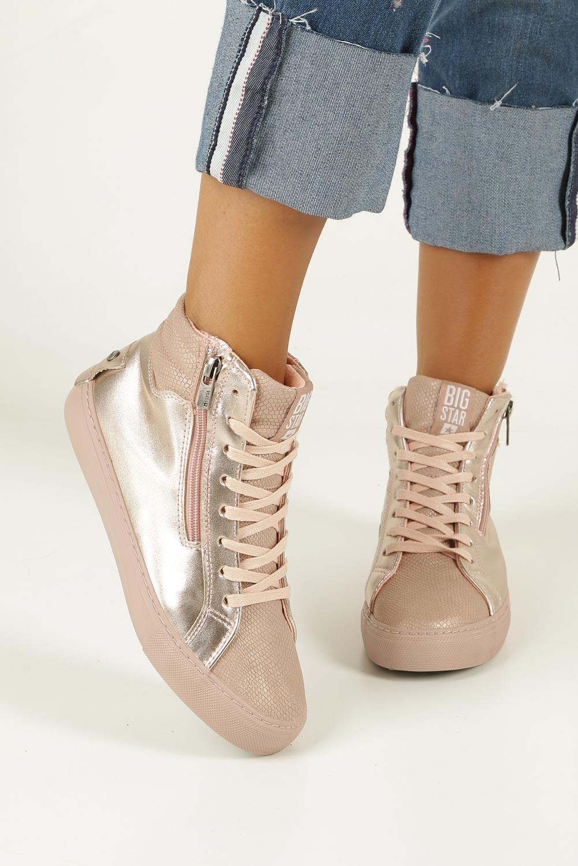 Różowe sneakersy trampki sznurowane z ozdobnym suwakiem Big Star BB274729 sezon Całoroczny