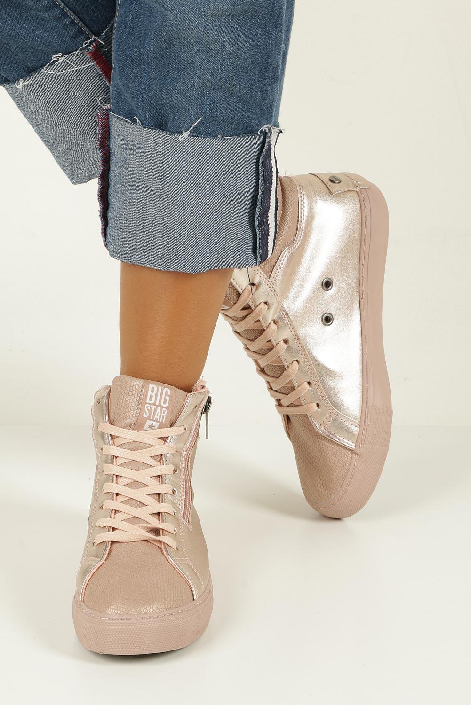 Różowe sneakersy trampki sznurowane z ozdobnym suwakiem Big Star BB274729 kolor różowy