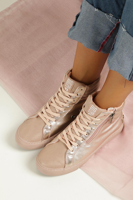 Różowe sneakersy trampki sznurowane z ozdobnym suwakiem Big Star BB274729 wysokosc_platformy 2.5 cm