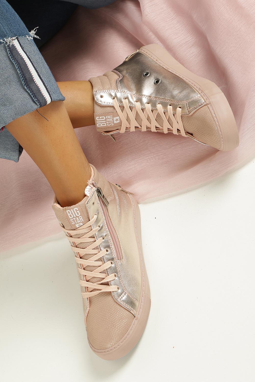 Różowe sneakersy trampki sznurowane z ozdobnym suwakiem Big Star BB274729 wys_calkowita_buta 14 cm